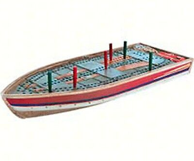 Outside Inside handpainted resin tin boat cribbage board with 6 pegs OUT99886