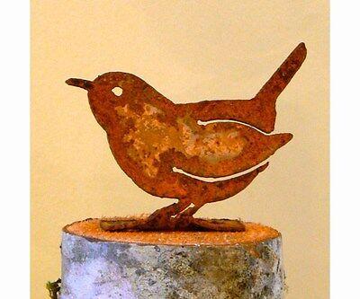 Elegant Garden CAROLINA WREN Bird Silhouette Rusty Metal Rustic Art Made USA