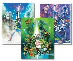 Three Zelda Posters (25th Anniversary) + Mario & Luigi Figurines