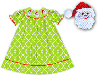 NWT Hand Smocked Christmas Santa Claus Green Lattice Dress The Smocked Shop - Green Santa Dress