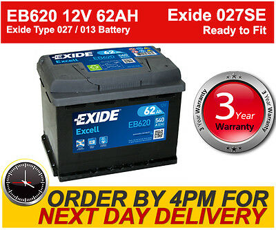 Exide Excell EB620 Car Van Battery 62Ah 540A CCA - 3 Yr Wty - Fast Despatch