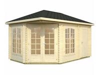 Corner Summer House with attached shed COMBO
