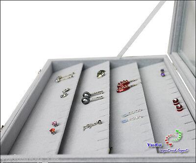 Schmuckkasten für Anhänger Ketten Ohrringe Glasdeckel mit Schlitz schräg grau