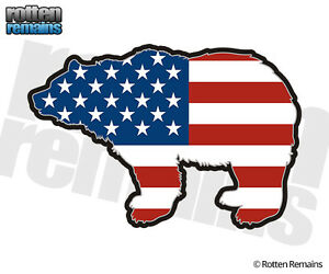 Bear-Decal-American-Flag-USA-Grizzly-Kodiak-Hunter-Gloss-Vinyl-Sticker-LH-H1G