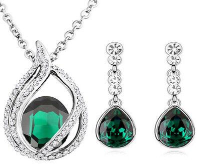 Luxus Smaragd Grün Oval Welle Kostüm Schmuck Set Ohrhänger Halskette - Smaragd Grünen Kostüm Schmuck Sets