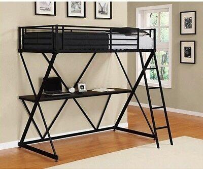 DHP X Twin Metal Loft Bed Over Desk Workstation, Black