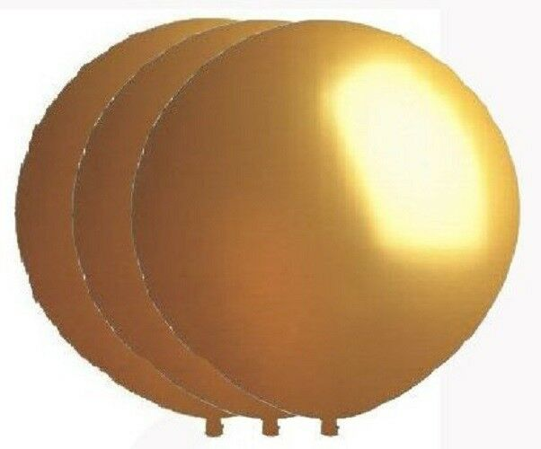 3 NEW 36 Inch Giant Round Gold Latex Balloons - Helium Quali