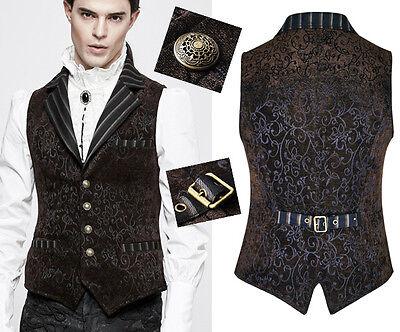 Weste Jacke Gothic Barock Dandy Brokat Muster Samt Anzug PunkRave Herren Kaffee