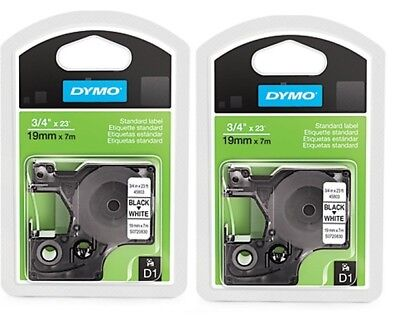 2 Packs Dymo Standard D1 Labeling Tape Labelmanager Label 34 Black Print