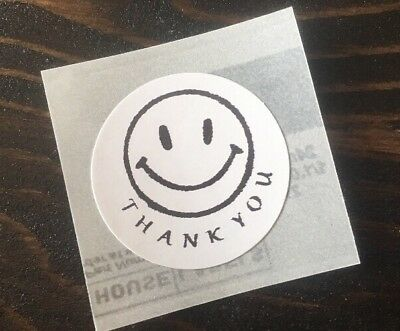 """378 THANK YOU HAPPY FACE ! STICKERS ENVELOPE/PACKAGE SEALS LABELS 1"""" ROUND  for sale  Shipping to India"""