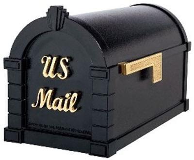 Gaines Keystone Signature Series Mailbox In Black/Polished Brass Gaines Keystone Series Mailbox