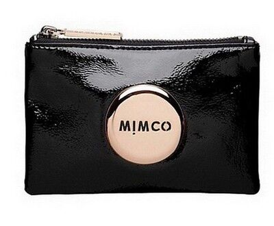 MIMCO Small Pouch Black Leather Purse Clutch Wallet Rose Gold Button RRP $69.95