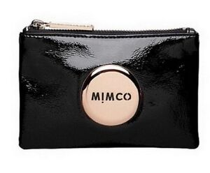 MIMCO Authentic Black Leather Small Pouch Wallet Rose Gold Button RRP $69.95