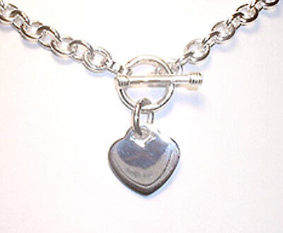 (Heart Charm Toggle Link Solid Sterling Silver Necklace 16