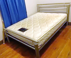 metal double bed frame, no mattress