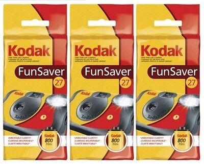 3 Kodak 35mm FunSaver Flash (800 ASA) One Time Use Disposable Camera