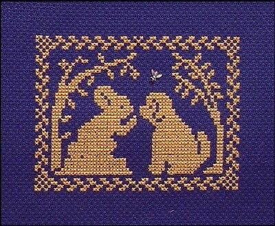 Spring Bunny - Spring Silhouette - Bunny Tells a Puppy by Handblessings - New Chart + Charm