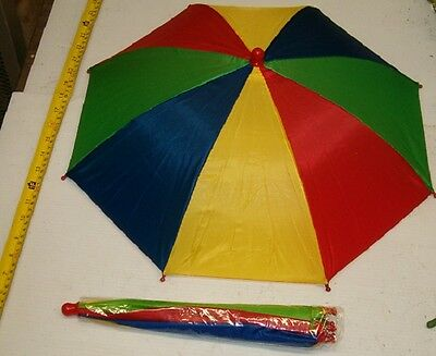 "BRAND NEW FOLD UP MULTI COLOR UMBRELLA HATS WITH 19"" CANOPY WHOLESAL, $1.65 EACH"