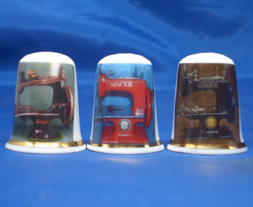 Birchcroft China Thimbles -- Set of Three -- Miniature Singer Sewing Machines