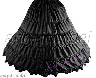 BLACK 6-HOOP BRIDAL WEDDING GOWN DRESS HALLOWEEN COSTUME PETTICOAT SKIRT SLIP](Hoop Skirt Halloween Costumes)