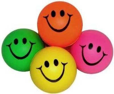 Mini Neon Smile Face Relaxable Stress Balls (1 Dz) Assorted Color Party Favor