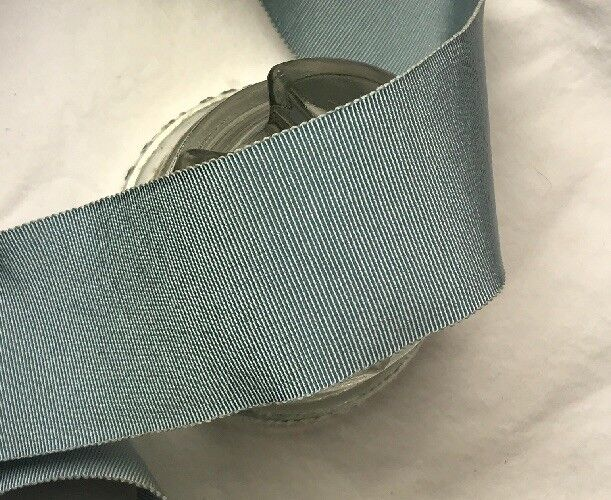 "BTY 2"" Blue vtg cotton rayon grosgrain petersham ribbon millinery hat"