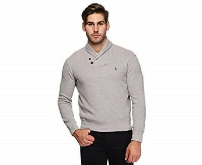 (Polo Ralph Lauren French Rib Shawl Neck Pullover Sweater Andover Heather Grey)