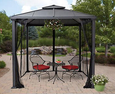 Metal Roof Gazebo with Netting Hard Top ...