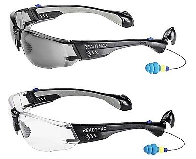 ReadyMax Construction Outdoor Safety Glasses with Earplugs Eye & Ear Protection](Construction Glasses)