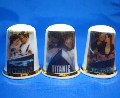 Birchcroft China Thimbles -- Set of Three -- Titanic Film Posters