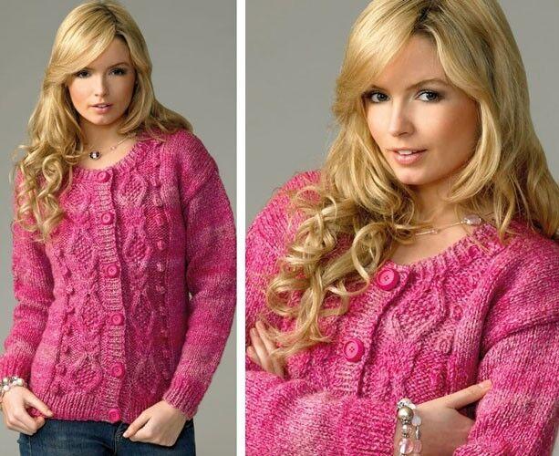 James C Brett Ladies Cardigan Marble Chunky Yarn Knitting Pattern