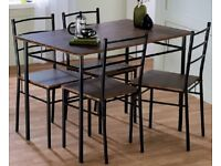 Ex Display 5 Piece Rectangular Metal Black Dining Set Table and Chairs