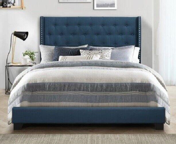 King Bed Frame Complete Set Rails Upholstered Headboard Bedroom Furniture Blue