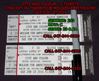 CITY AND COLOUR - 2 TICKETS - SECTION 203 Row C - MOLSON AMP