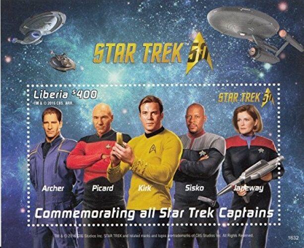 Liberia - Star Trek 50th Anniversary - Kirk, Picard, Janeway, Sisko, Archer MNH