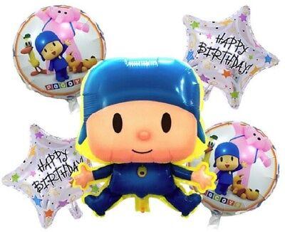 Pocoyo   Friends Balloon Set Happy Birthday Party Decoration 5 Balloons   Ribbon