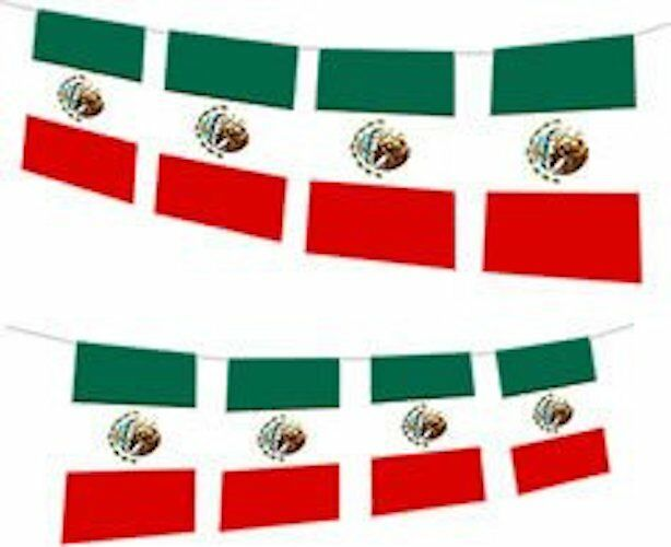 Huge 33ft Flag Party Bunting Mexico Mexican Bandera de México