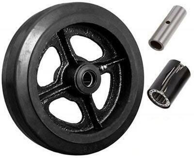 Caster Barn - 8 X 2 Mold-on Rubber On Cast Iron Steel Wheel - 600 Lbs Cap