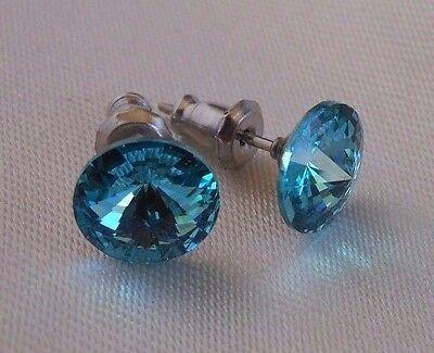 Silver Deer HYPOALLERGENIC Stud Earrings Swarovski Elements Crystal  Turquoise  Aquamarine Swarovski Crystal Earrings