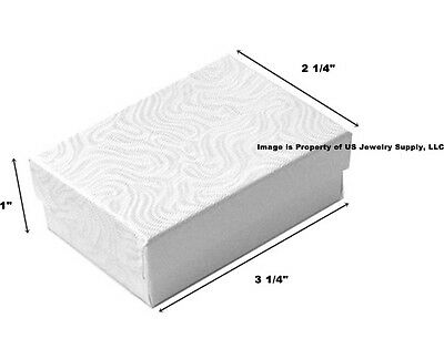"""200 White Swirl Cotton Fill Jewelry Packaging Gift Boxes 3 1/4"""" x 2 1/4"""" x 1"""""""