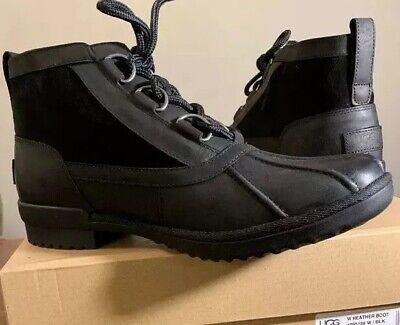 UGG HEATHER WATERPROOF BLACK WOMAN'S  ANKLE LEATHER BOOT'S 1095156 SIZE 9.5 NEW