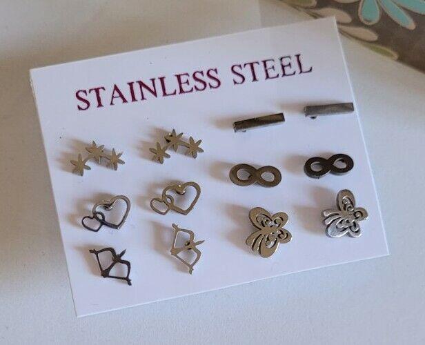 6 Pairs Lot Wholesale Stainless Steel Women Girl Cute Stud Earrings