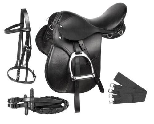 All Purpose English Saddle 16 in Premium Black Leather Horse