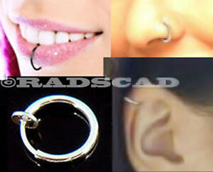 Clip-On-Fake-Piercing-Ear-Nose-Lip-Hoop-Ring-Earring-Tragus-Fancy-Dress-Belly-E7