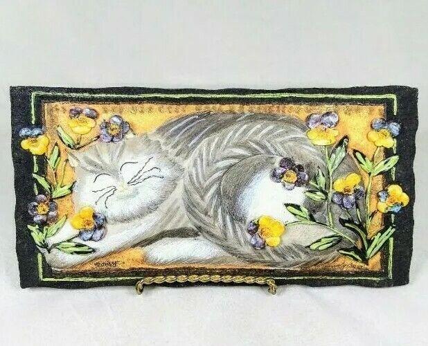 E. Smithson Pansy Flower Garden Sleeping Gray Cat Folk Art 3D Resin Wall Plaque.