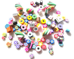 87 BEADS MIXED LOTS - CAKES, SWEETS, WITH POLYMER CLAY FIMO FAST FREE SHIPPING