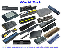 Batteries pour Laptop Dell, HP, Lenovo, Toshiba, Acer, MacBook