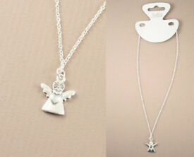 Silver coloured guardian angel pendant necklace - JTY368