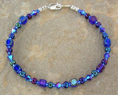 Swarovski Blue Bracelets - Iris Blue Bracelet - Cobalt Glass and Swarovski Crystal Bracelet, Sm - X-Large