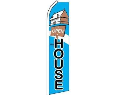 Open House Polyester Swooper Flag Banner Sign Pole Set Not Included